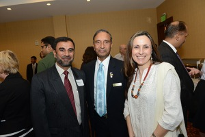 Hamood Ur Rahman, NUST faculty member and delegation team leader; Siddique Sheikh, Mason Board of Visitors; and Eirini Gouleta, Associate Professor for International Education, College of Education and Human Development. (Photo Credit: GMU)